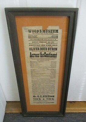 Framed 1873 WOOD'S MUSEUM Theatre Flyer ACROSS THE CONTINENT Oliver Doud Byron