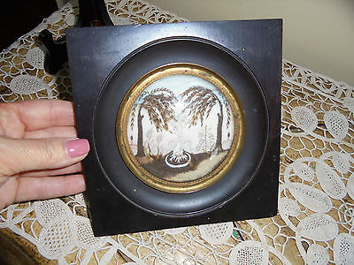 Antique 19c French Sentimental Mourning Framed Hair With Angel and Scared Heart