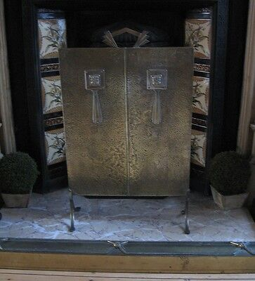 Stylish Antique Art Deco Hammered Brass Fire Screen, Manner Of Liberty's London