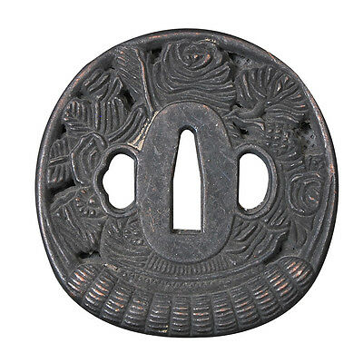 Zinc Alloy Rose Flower Tsuba for Japanese Samurai Katana Wakizashi Tanto