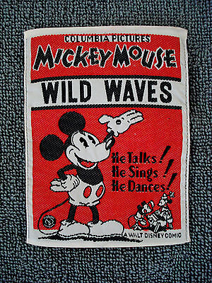 RARE 1930's COLUMBIA PICTURES ORIGINAL MICKEY MOUSE LARGE WOVEN PATCH BADGE