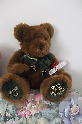 "Grand ours en peluche de collection ""Happy new year 2000"""