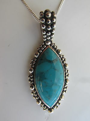 Sterling Silver Chain With Sterling Silver & Turquoise Large Pendant Drop
