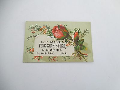 L F Munz Fine Shoe Store, 65 Ave B bet 4th & 5th Sts NYC Victorian Trade Card
