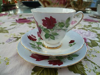 Vintage Old Royal China Trio Tea cup Saucer Sampson Smith Blue Red Rose 4097