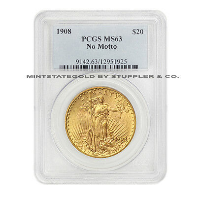 1908 $20 Saint Gaudens PCGS MS63 No Motto Gold Double Eagle choice grade coin NM