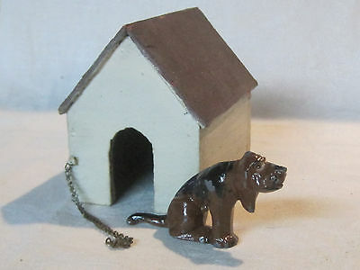 Vintage Manoil painted metal Bloodhound Dog with dog house, Happy Farmer Series
