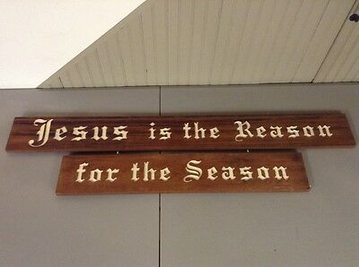 Free Shipping!! Hand Carved Wood Sign Christmas Jesus Is The Reason For Season