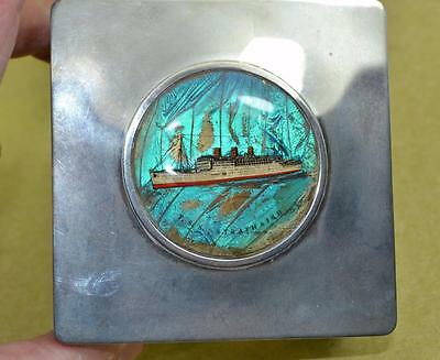 vintage Art Deco P & O T.S.S Strathaird butterfly wing cigarette box  as found