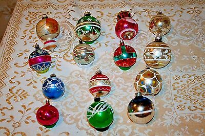 Vintage Christmas Oranments Mercury Glass Hand Blown & Painted w/ Gliter, set 14
