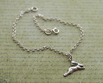 Sterling Silver Leaping Hare Charm Ankle Chain Bracelet Anklet 925