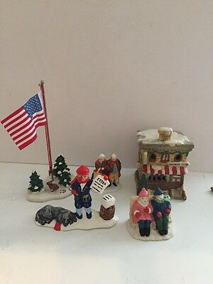Lot of Assorted Christmas Buildings & People (Two Pieces Are Dept 56)