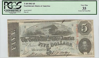1863 $5 Confederate $5 .... PCGS Certified ...... NO RESERVE