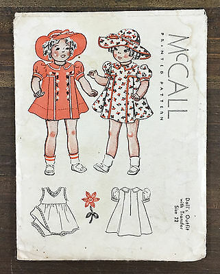 """Vintage 1937 McCall's 22"""" Shirley Temple Doll Dress & Hat Sewing Pattern Unused"""
