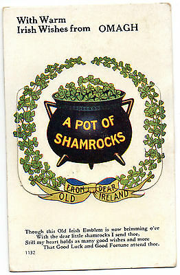 With Warm Irish Wishes From Omagh Tyrone Ireland Novelty Postcard Posted In 1959