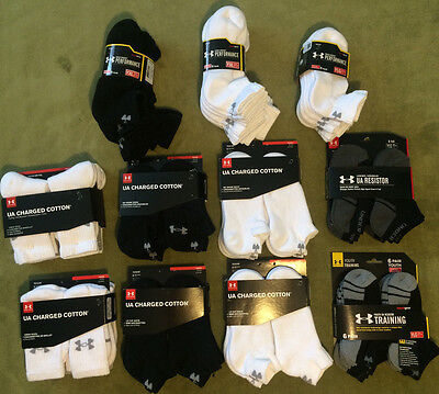 NWT Under Armour Youth Charged Cotton Crew No Show Low Cut Socks 6 Pair YLG YXL