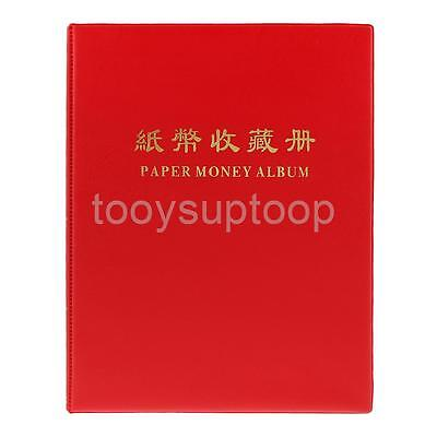 20Page Banknote Album Case for Currency Paper Money Holder Storage Book Red