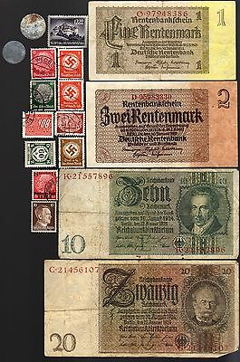 Nazi Banknote, Coin And Stamp Set # 87