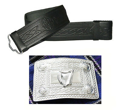 Real Leather Irish Harp Kilt Belt Adjustable Chrome Buckle Handmade Set Mens