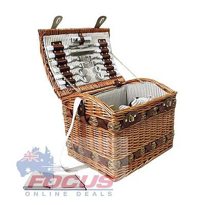 4 Person Picnic Basket Set w/ Cheese Board and Blanket
