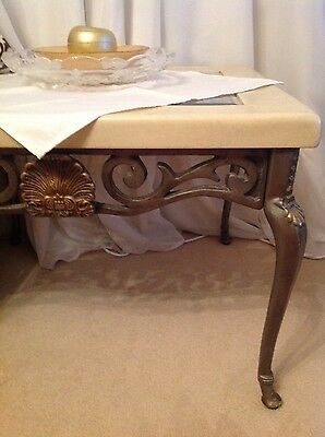ornate coffee table with glass inlay cream and gold  - can deliver