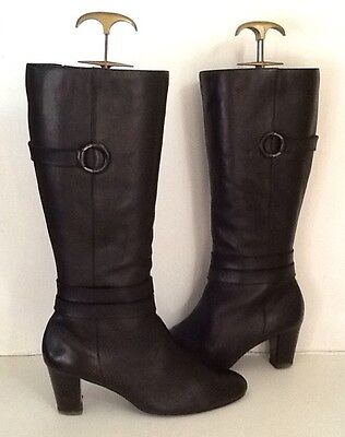Footglove Black Leather Knee High High Heeled Boots - Size 7