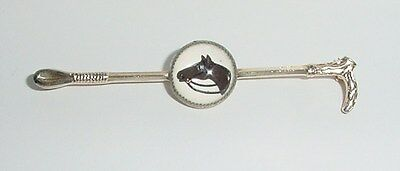 Vintage Crystal Cabochon Horse & Riding Crop Pin Gold Tone