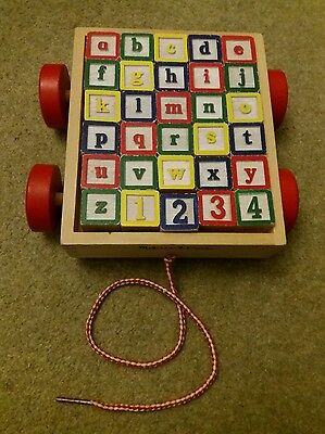 Melissa & Doug Classic Abc Wooden Block Cart Pre School Early Learning Toy