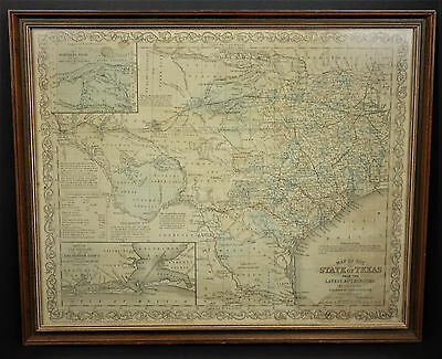1856 Texas Map by J.H. Young Published by Charles Desilver Framed