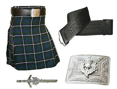 Douglas Kilt, Real Leather Belt, Thistle Pin & Buckle - 4 Piece Scottish Outfit
