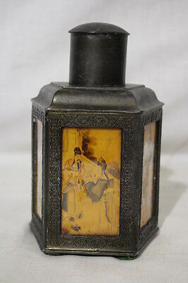 Vintage Chinese Pewter 5-Sided TEA CADDY & Lid w/Reverse Painted Glass Panels