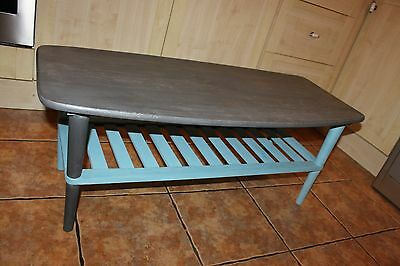 Grey Ercol Style Top Rectangular Long Wooden Coffee Table 1 Shelf Blue Legs