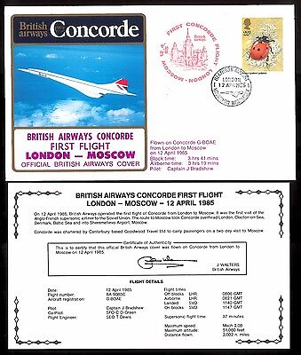 12.4.1985 Ba Concorde First Flown Cover_London - Moscow