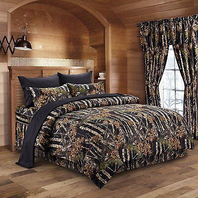 """""""The Woods"""" Black 4 Piece Toddler Reversible Comforter Set with Pillow and Sheet"""