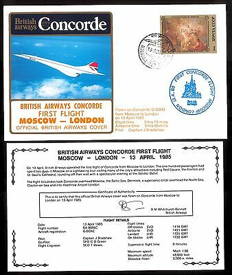 13.4.1985 Ba Concorde First Flown Cover_Moscow - London