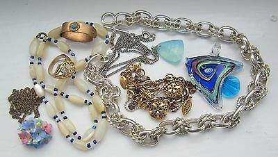 Dress ring  2 necklaces  3 pendants  1 bracelet 1 scarf ring Mixed lot  8 items: