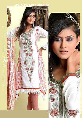 Bollywood Designer Stitched Salwar Kameez Dress Sari saree Kurti white Rust L