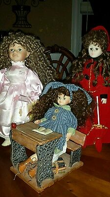 Lot of 3 Collector Dolls in Good Condition