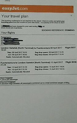 Flight tickets(4 Adults) from Gatwick to  Fuerteventura in April