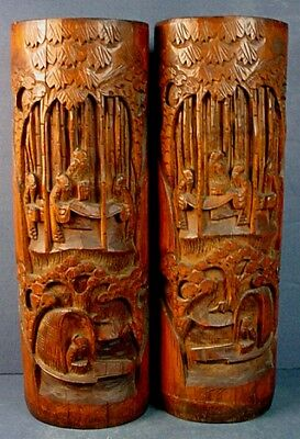 "18th CENTURY PAIR CHINESE CARVED BAMBOO ""SAGES IN BAMBOO GROVE"" BRUSHPOTS"