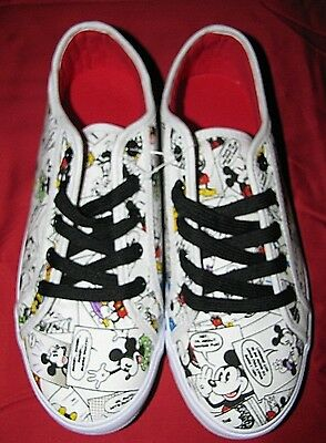 DISNEY MICKEY MOUSE COMIC CANVAS SNEAKERS TENNIS SHOES FOR WOMEN sz.8 NWTS!