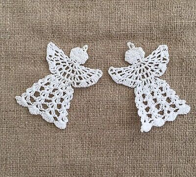 Hand Made Stiffened Crochet Angles Christmas Tree Ornaments Set Of 2