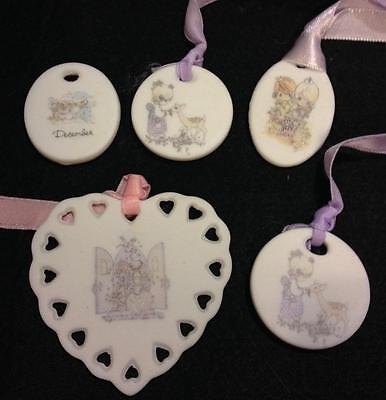 Lot 5 Precious Moments Flat Ornaments Oval Round Heart