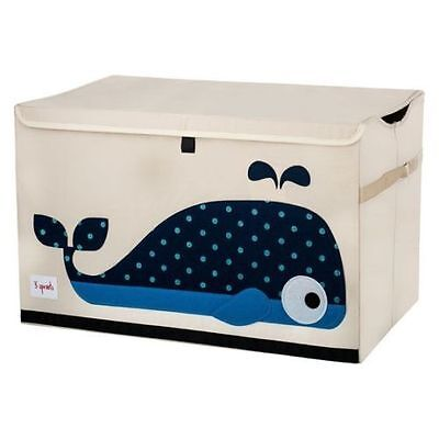 NEW 3 Sprouts Toy Storage Box Chest Organiser Blue Whale #`3S-TSWHA