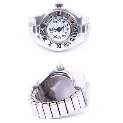 Creative Stylish Lady Girl Steel Roman Number Elastic Quartz Finger Ring Watch