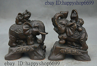 """5"""" Chinese fengshui Bronze Jixiang animal Elephant Carry Lucky gourd Statue Pair"""