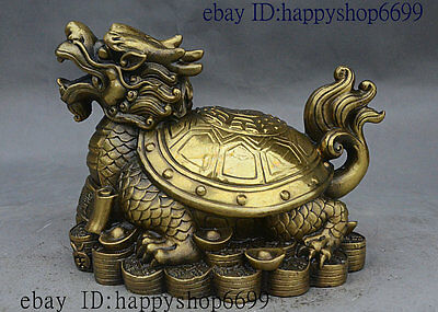 """7"""" Chinese fengshui Brass Wealth Dragon turtle Tortoise on Yuanbao coin Statue"""