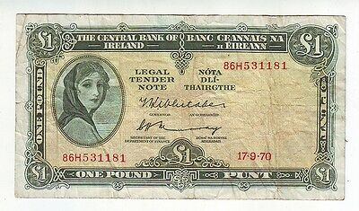 1970 Central Bank of Ireland One Pounds Banknote 1 Pound M-359