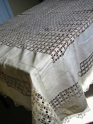 Antique Tablecloth Linen Cream Lace Edging Hand done Pulled Drawn Thread work