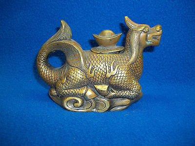 Vintage Asian Handmade Old Rare Bronze Dragon Statue Wine Tea Pot Stamped